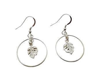 Monstera Earrings with Hoops Sterling Silver