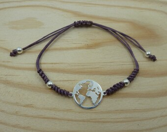 Adjustable bracelet with Entrepieza world in sterling silver with snake knot