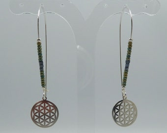 Flower of Life Earrings ? Sterling Silver