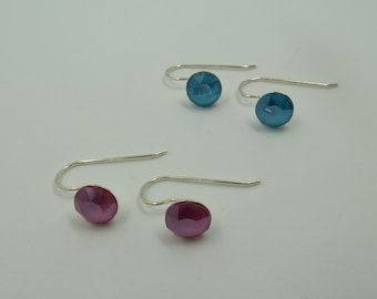 Sterling Silver Hook Earrings with Swarovski elements Xilion Chaton
