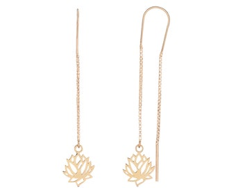 Long Lotus Blossom Earrings Golden Bath
