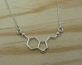 Serotonin molecule Pendant in Sterling Silver with Venetian chain