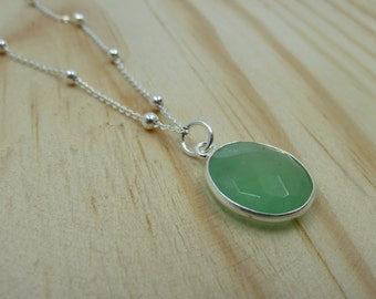 Faceted Chrysoprase Pendant with ball chain in Sterling Silver