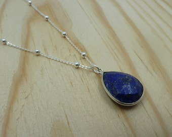 Faceted Lapis Lazuli Pendant with ball chain in Sterling Silver