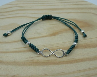 Adjustable bracelet with infinite Entrepieza in sterling silver with snake knot
