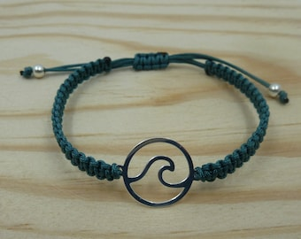 Adjustable bracelet with Entrepieza wave in sterling silver