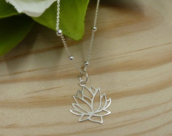 Lotus Flower Pendant with ball chain in Sterling Silver