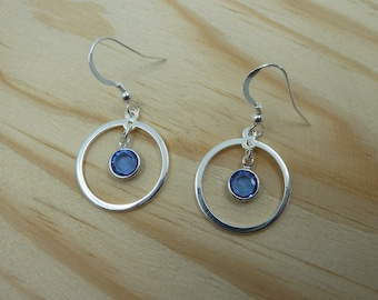 Earrings Orbit ? Brass Hoop and Swarovski