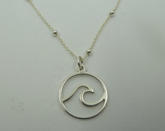 Wave pendant with ball chain in sterling Silver