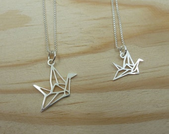 Origami Crane Pendant with Silver venetian chain of Law
