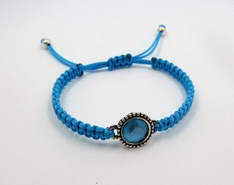 Adjustable macrame bracelet with Entrepieza with Swarovski Crystal Xilion Chaton SS39