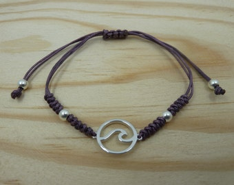 Adjustable bracelet with Entrepieza wave in sterling silver with snake knot