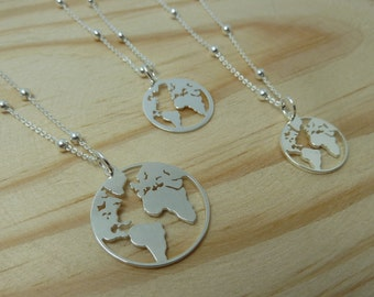 Hanging World with ball chain in Sterling Silver