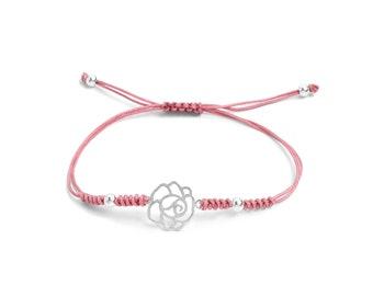 Pink Macramé Bracelet Sterling Silver