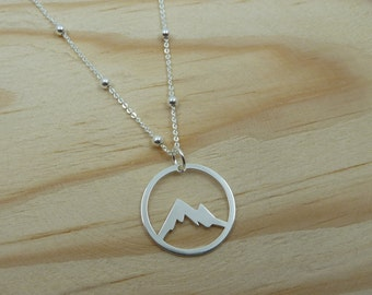 Mountain Pendant with ball chain in Sterling Silver