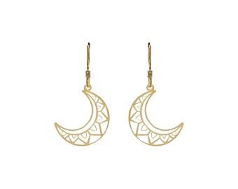 Boho Moon Earrings Golden Bath