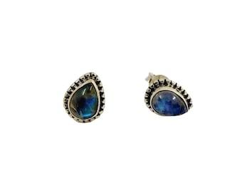 Sarayu Stone Earrings Moon | Ssread Silver
