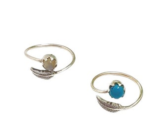 Elid ring adjustable Moonstone or Turquoise | Ssread Silver