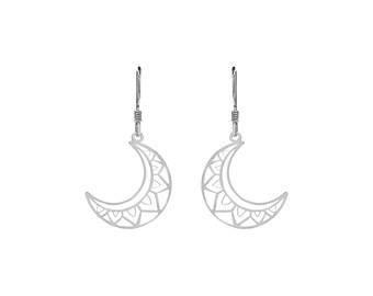 Boho Moon Earrings | Sterling Silver