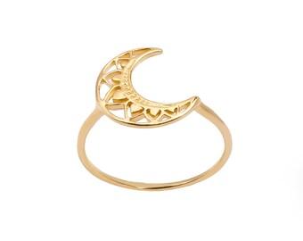 Boho Moon Ring Golden Bath
