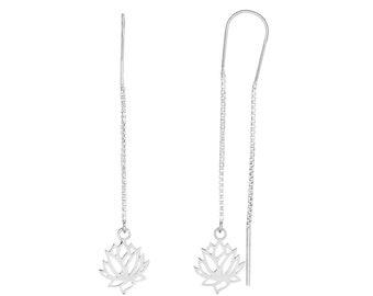 Long Lotus Blossom Earrings Sterling Silver