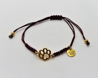 Solidarity Bracelet Golden Feather Print ? Zamak and macramé