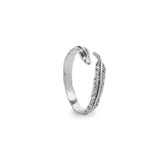 Adjustable ring Fine feather | Ssread Silver