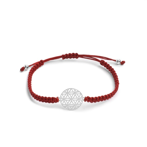 Macramé Flower of Life Bracelet   Sterling Silver