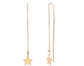 Star Long Earrings Golden Bath
