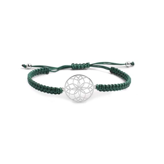 Mandala Macramé Bracelet Sterling Silver