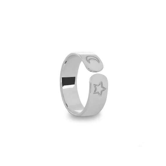 Adjustable ring Moon and Star | Ssread Silver