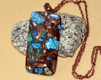 Sea sediment jasper gold copper bornite pendant