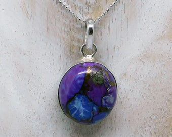 Sterling silver Purple copper turquoise necklace
