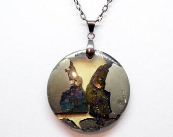 Natural Druzy Rainbow Pyrite pendant Round shape