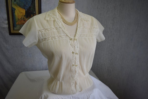 1940s L Jami Sheer Nylon Lace RS/S Blouse Off Whit