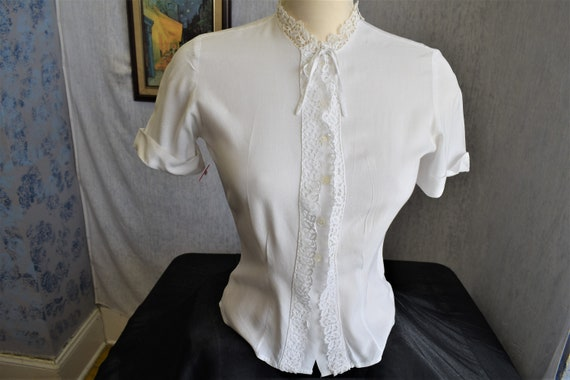 1930s M Linen Lace Magee S/S Blouse White