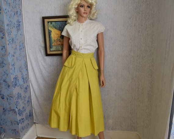 """40s 26"""" Gay Palmer  Cotton Skirt Chartreuse Yellow"""