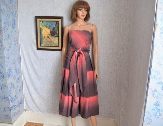 50s M Cotton Strapless Wrap Dress Pink Gray Stripe