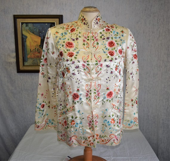 50s M 38 Chinese Silk Satin Embroidered Jacket Whi