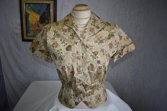 1940s M Silk Hand Painted Taffeta Paisley Chintz S