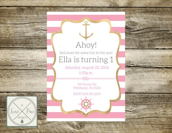 pink and gold birthday invites