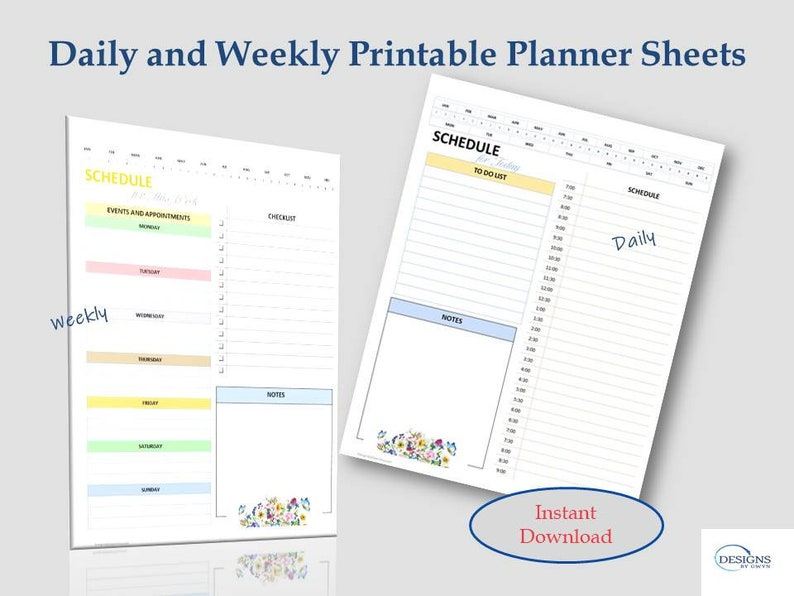 Daily and Weekly Planner Sheets PDF Pastel Colors Printable image 0