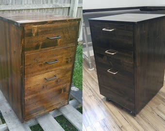 Rustic Rolling Wooden File Cabinet Office Storage Drawer Industrial