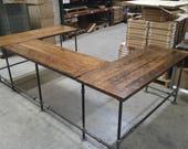 Rustic U shaped desk, FREE SHIPPING, Black Pipe Leg Reception desk, L-shaped table, heavy duty gaming desk, music studio station