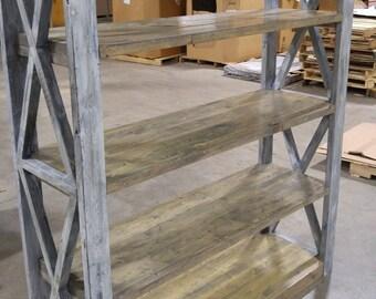Rustic Wood Bookshelf FREE SHIPPING Distressed Industrial Office Bookcase Shelf Heavy Duty Shelves