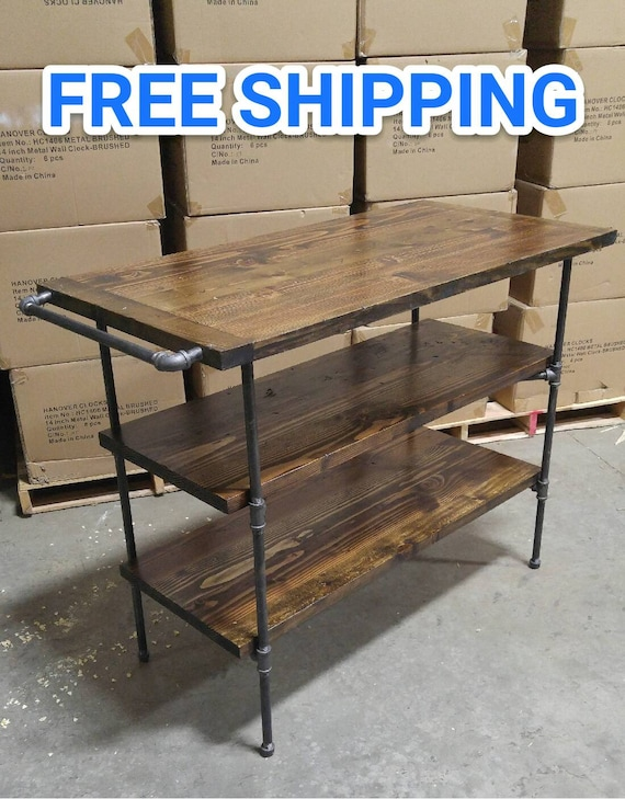 Black pipe wood kitchen island, Free shipping, Industrial, Rustic,  Distressed, as seen in Wall Street Journal