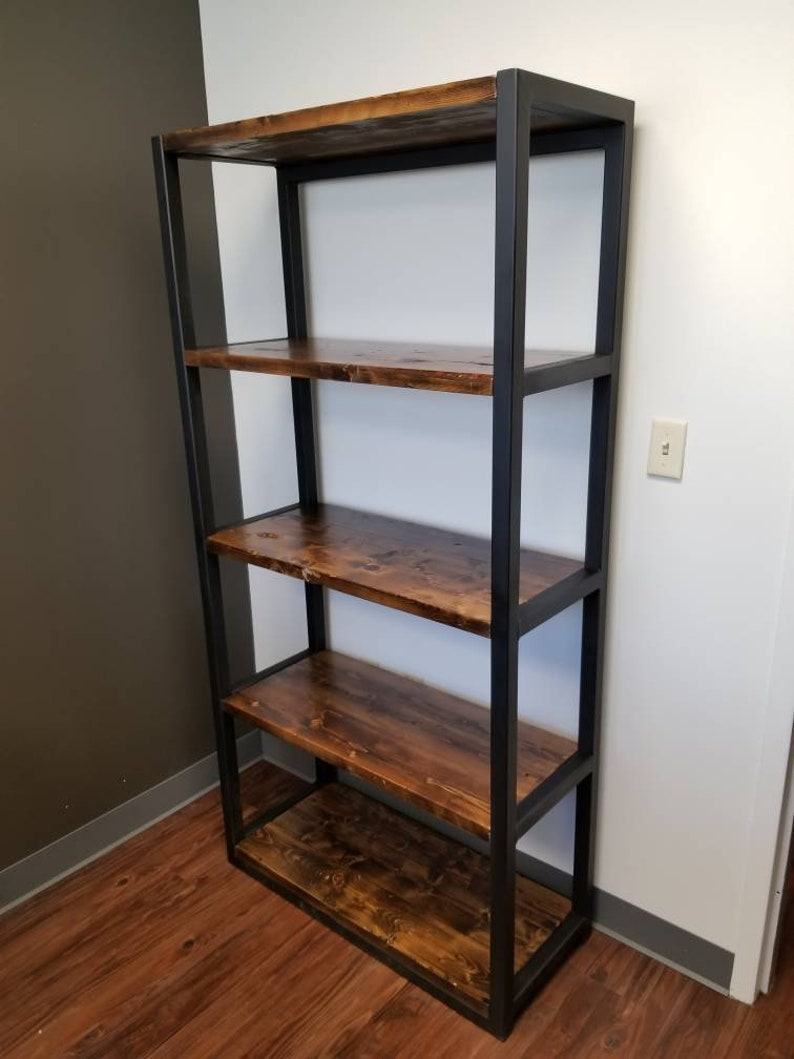 best service ad29b d2597 Heavy Duty Steel Bookshelf, Rustic, Distressed, Industrial, Office, Metal  Bookcase, Shelf, Heavy Duty Shelves