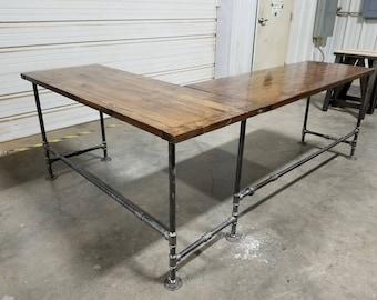 L-Shaped Rustic Desk, Industrial Computer Desk, Large Office Gaming Desk, Corner Desk