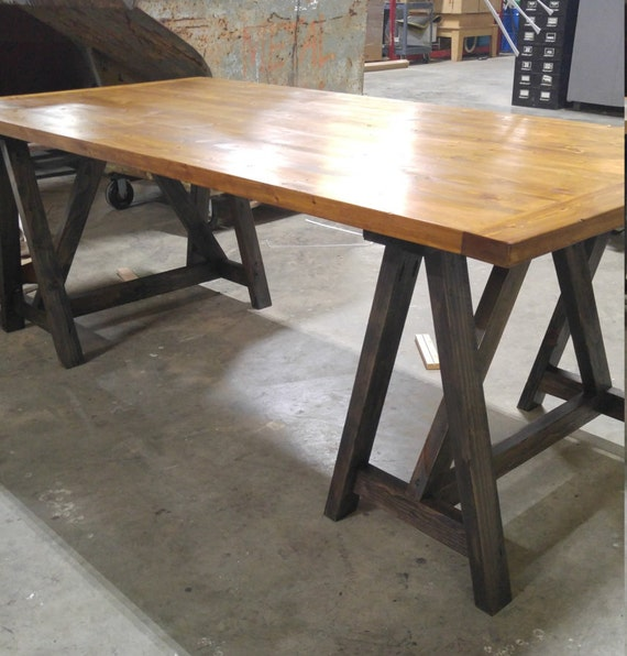 Rustic desk, FREE SHIPPING, Industrial desk, loft style table, sawhorse  wood desk, kitchen table, office conference table