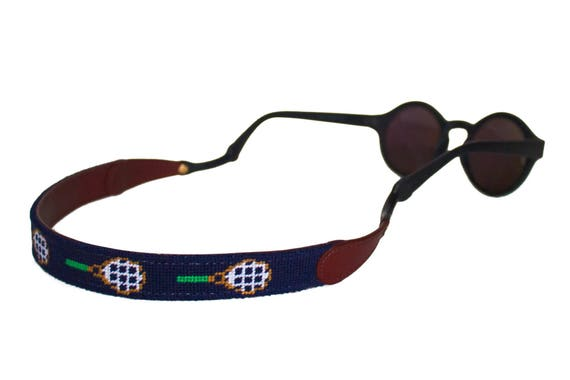 8fa534a6473 Tennis Rackets on Navy Needlepoint Sunglass Straps